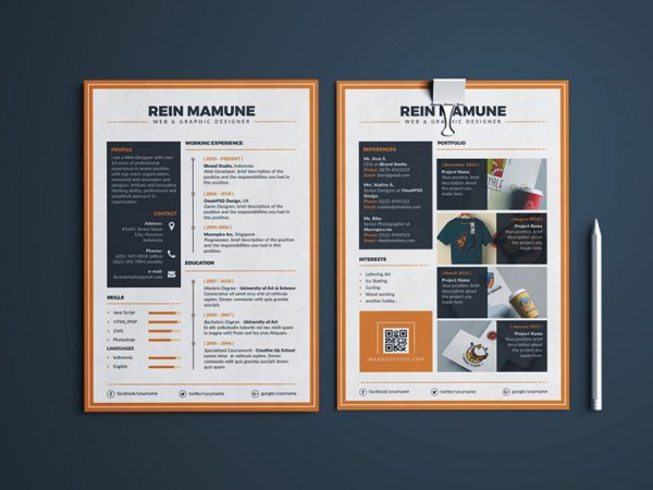 Free Elegant Resume Template with Matching Portfolio and Cover Letter