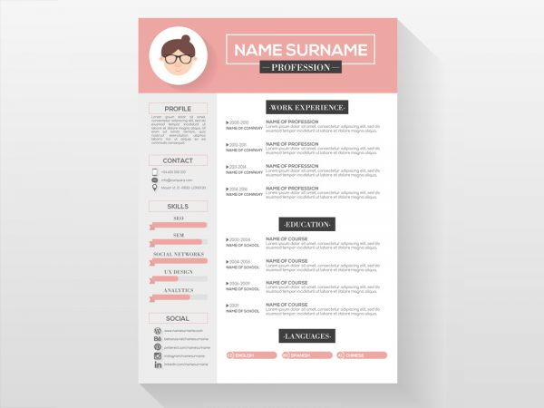 Free Feminine CV Template with Beautiful Design