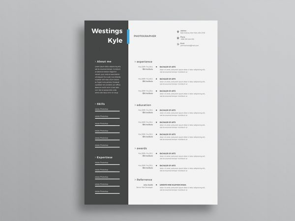 free resume template with elegant design in psd file format - Elegant Resume Template
