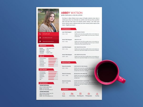 Abbey Resume Template - Free Resume Template with Red Color Scheme