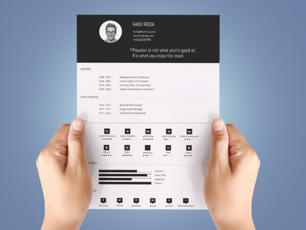 Free Simple Resume Template with Infographic Style