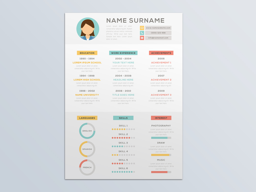 Free Vector Resume Template with Attractive Infographic Style