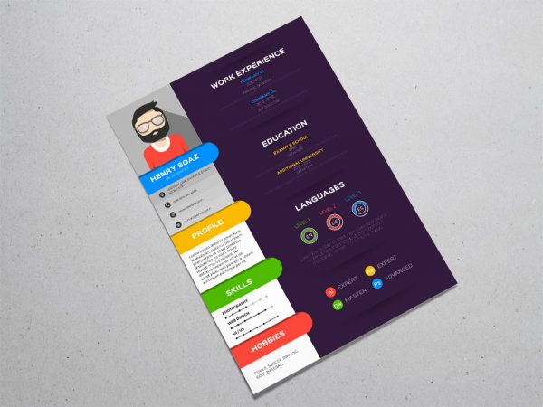 Free Stylish Colorful Resume Template with Flat Design