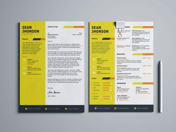 Free Resume and Cover Letter Template with Five Color Options
