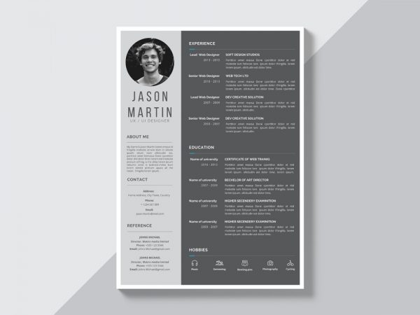 Free Grey Resume Template with Simple Style Design