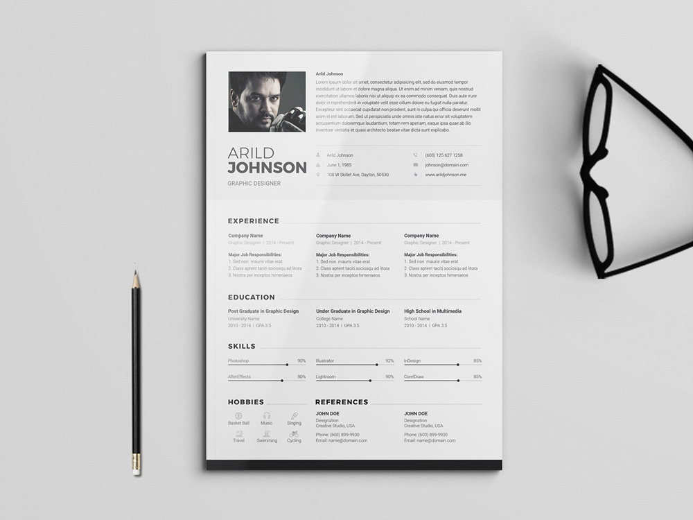 Arild Resume Free Clean And Modern Cvresume Template For Any Job - Cv-clean-resume