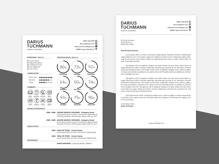 free minimal cv template in psd and ai file format
