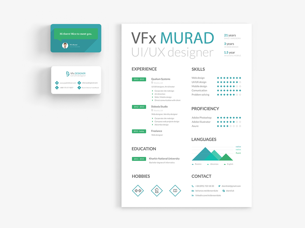 free resume template created for uiux designer this resume also come with business card template that will help present your profile with simple way