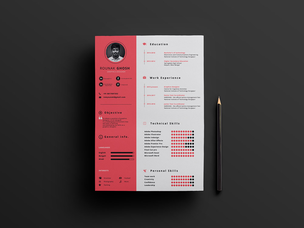 free a4 modern resume template with cleand design