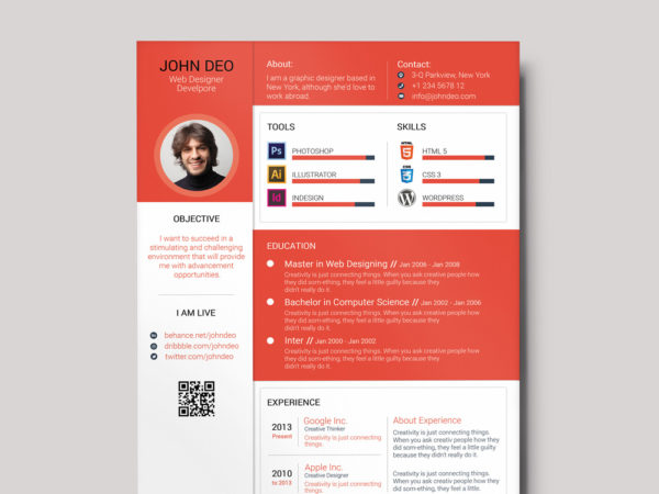 Free Colorful Material Resume Template with Cover Letter and Portfolio
