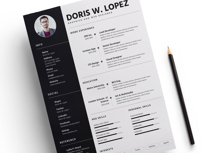 Free Creative Sketch Resume Template for Job Seeker