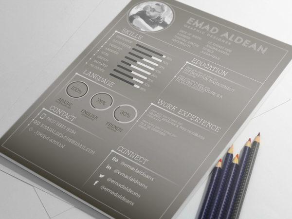 Free Dark Resume/CV Template for Designer
