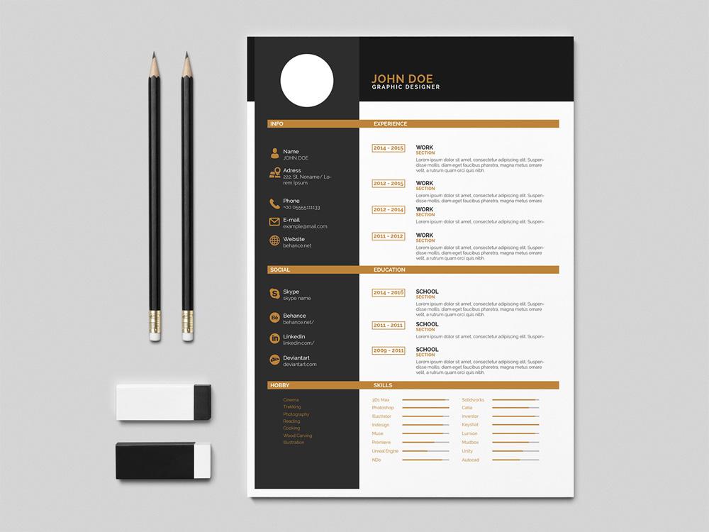 Free Flat Indesign Resume Template with Elegant Design