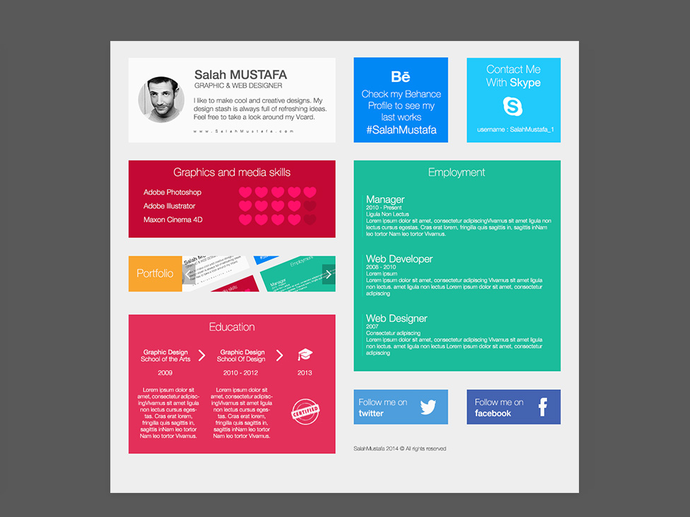 Free Flat Grid Resume Template With Colorful Style