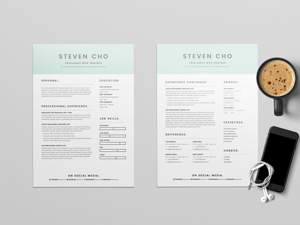 frelancer resume template with minimalist design