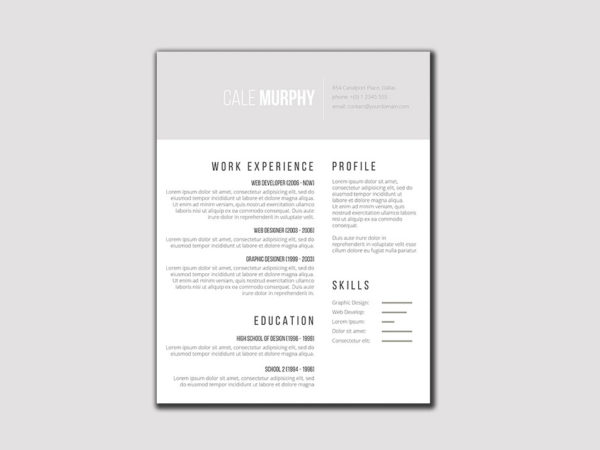 Free Simple Resume Template with Gray and White Color Scheme