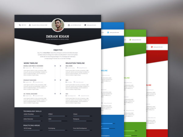 Free Resume Template with 4 Colors Options