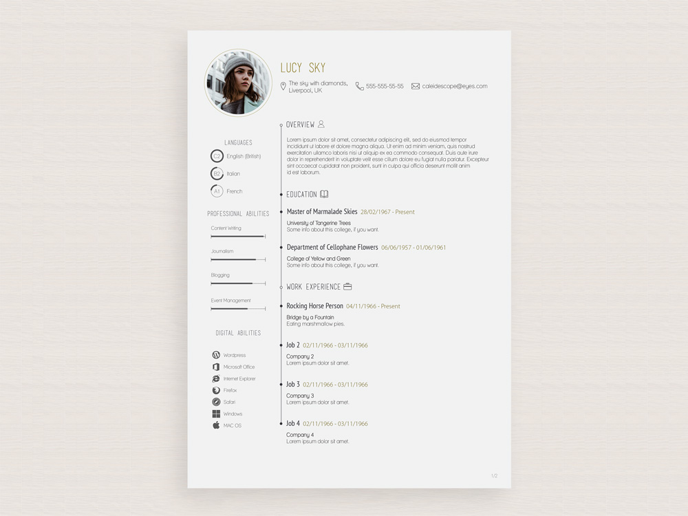 Lucy Sky Resume Free Vector Illustrator Resume Template With