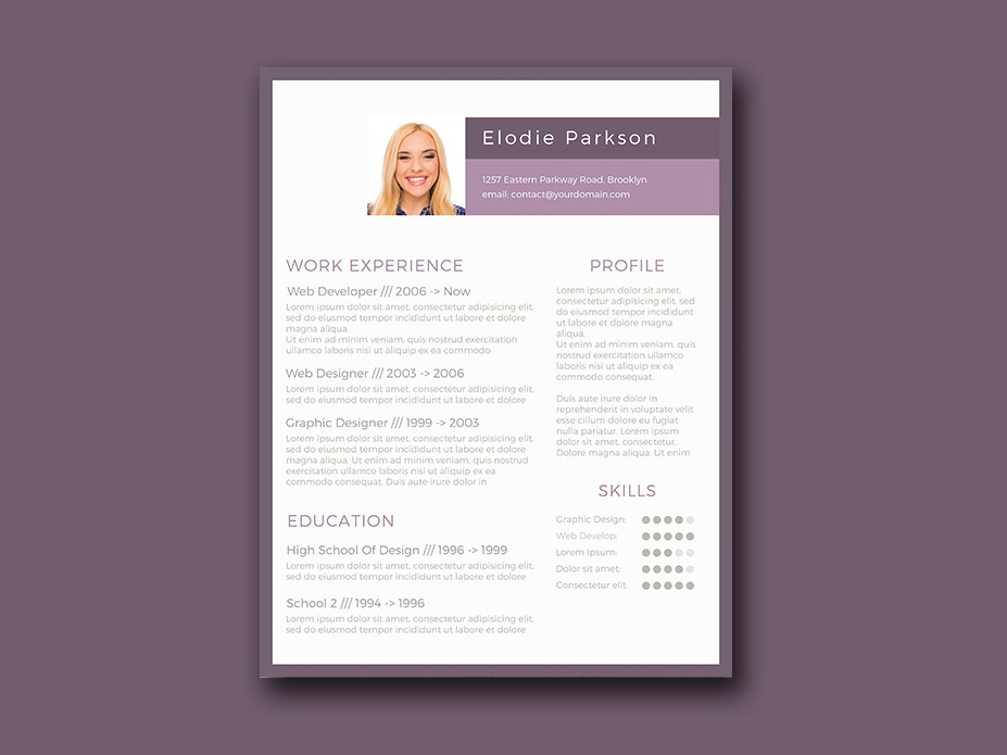Resume Template Color | Free Minimalist Resume Template With Purple Style Color