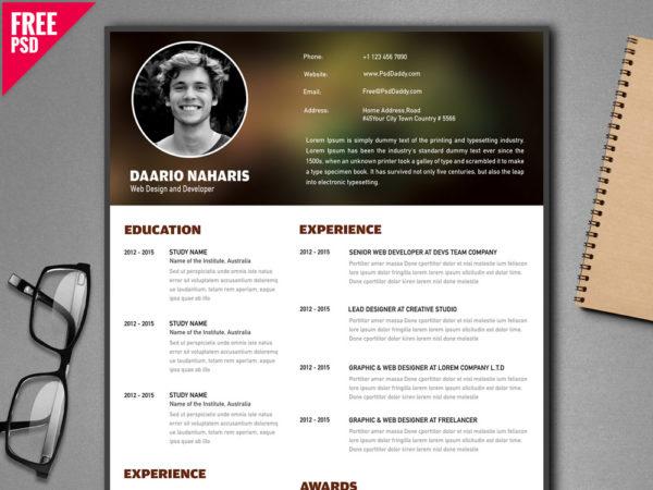 Free Creative Resume Template for Developer