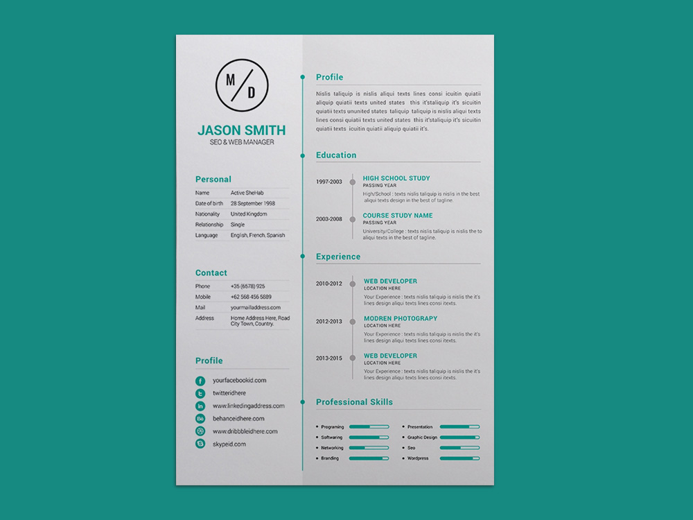 Free Personal Resume Template with Elegant Timeline Design