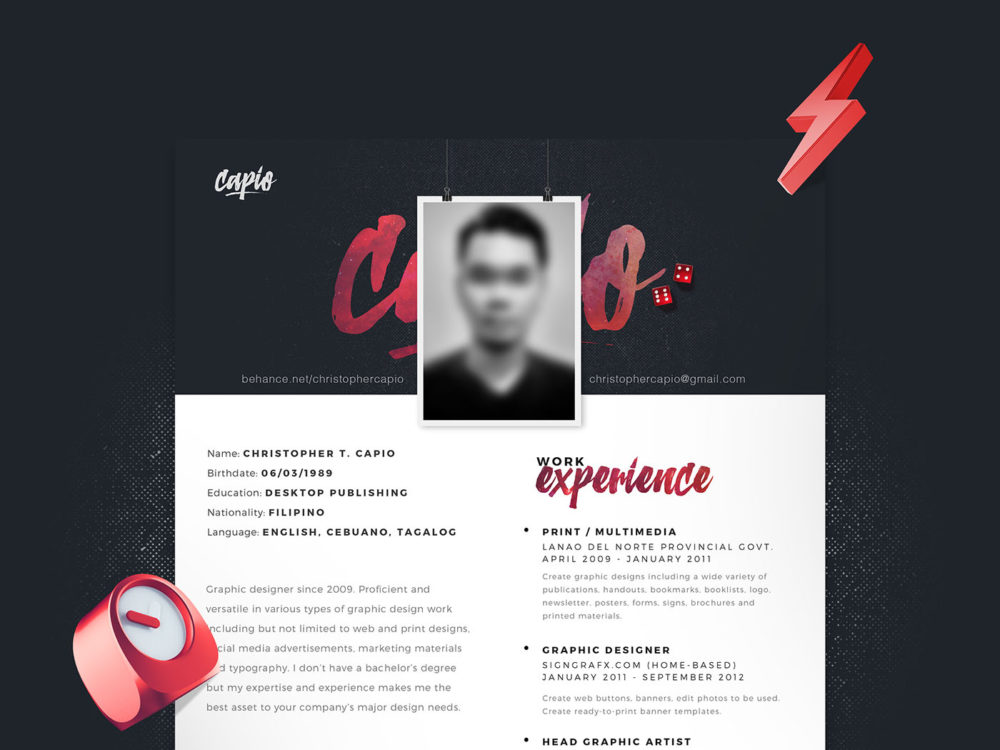 single page resume free single page resume template in psd format