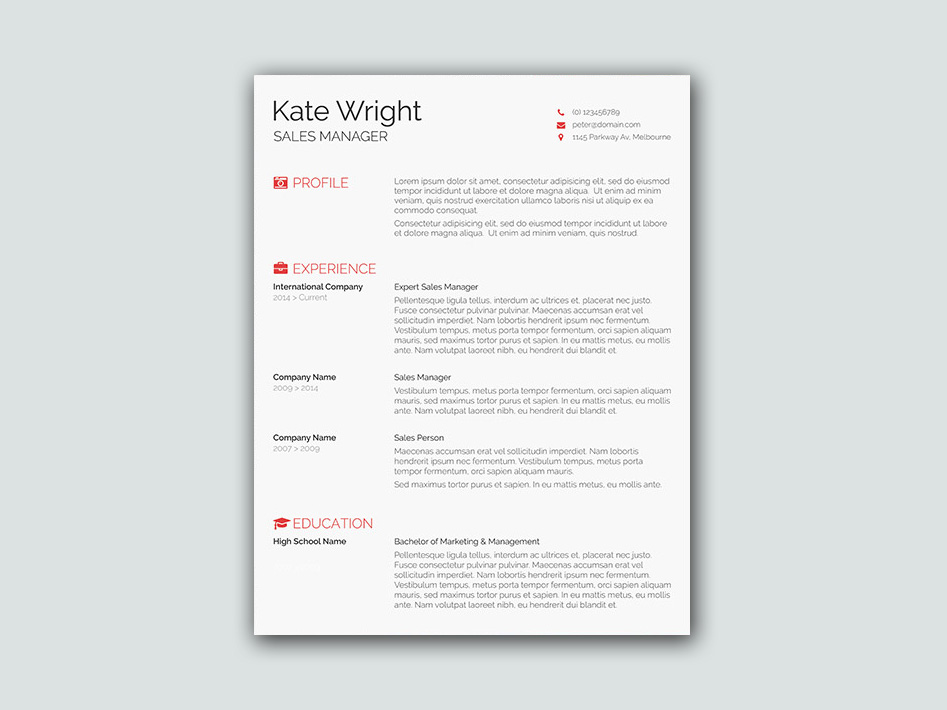 Free Smart Minimalist Resume Template For Best Impression