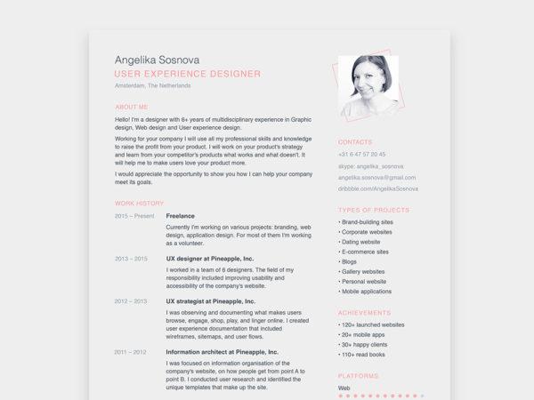 Free Simple Resume Template for Designer
