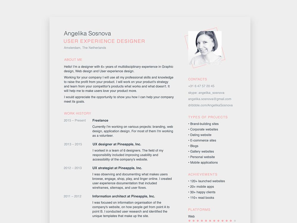 Sosnova Resume - Free Simple Resume Template for Designer