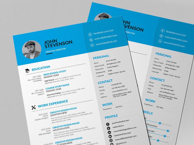 Stevenson - Free Blue Theme Resume Template with Creative Design