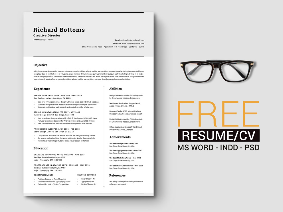 Free Timeless Resume Template with Elegant Design