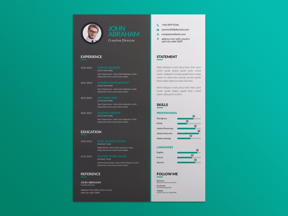 Free Vector Green Resume Template for Job Seeker