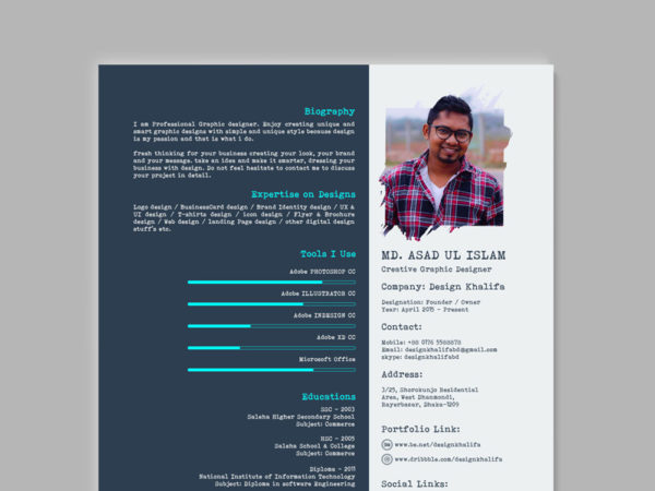 Free Visual Typographic Resume Template for Job Seeker