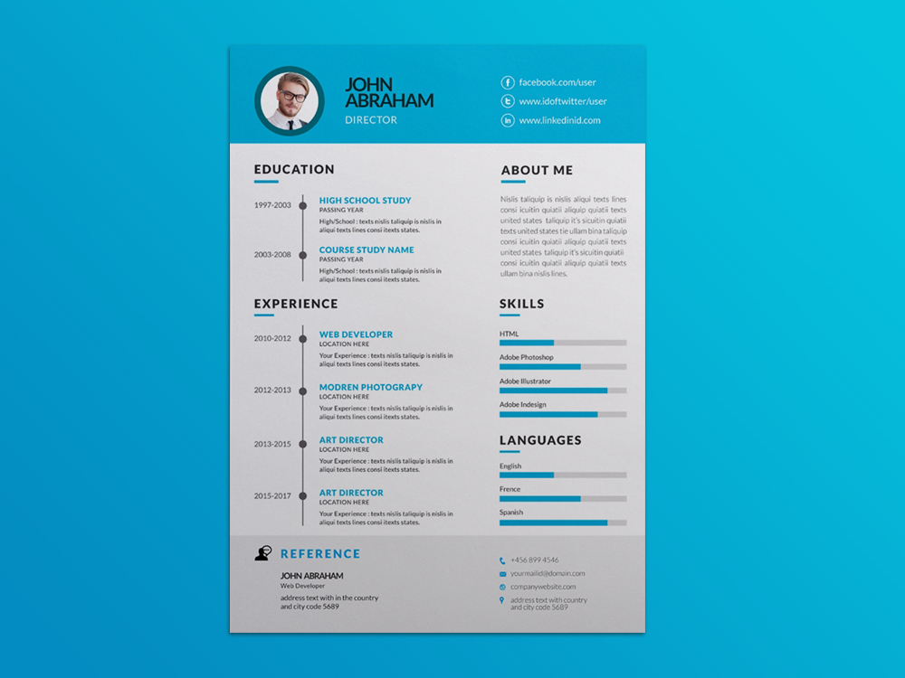 free vector resume template with blue themed color