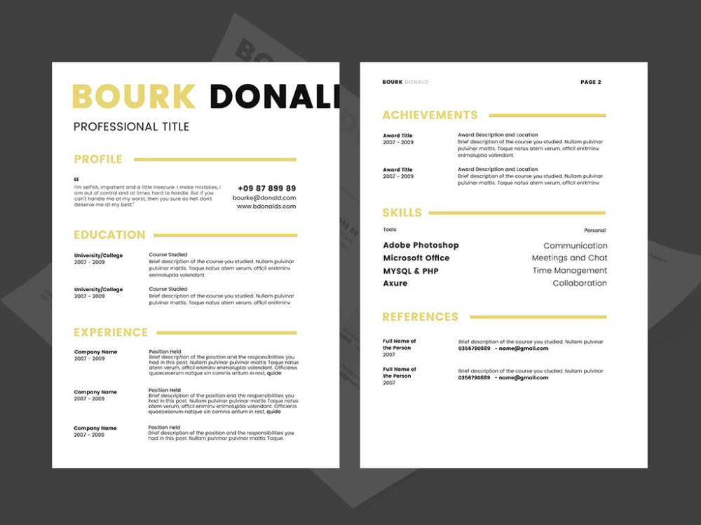 Bourk Resume - Free PSD Resume Template for Job Seekeer