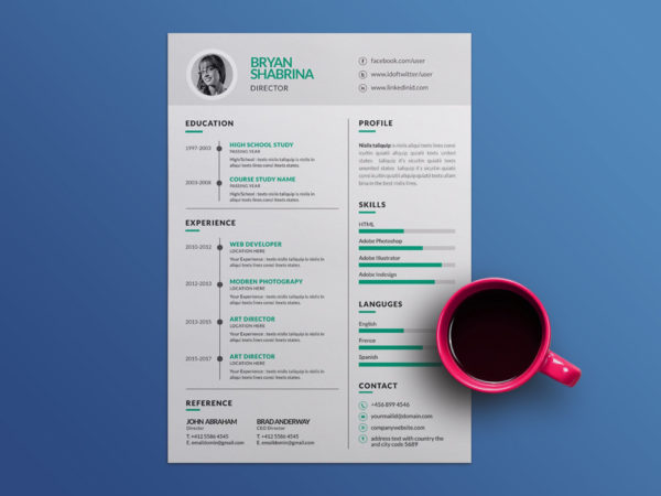 Free Vector Resume Template with Silver Color Scheme