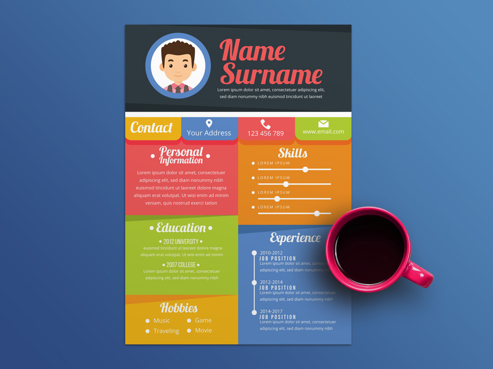 free colorful resume template in illustrator file format