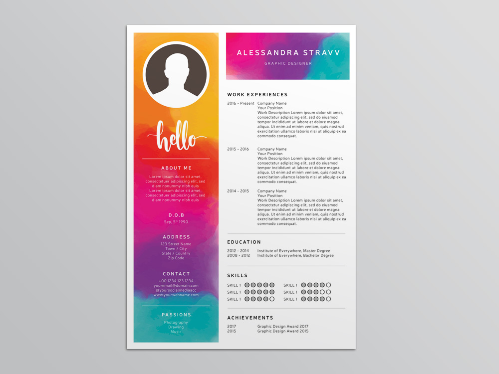 Free Colorful Resume Template for Job Seeker