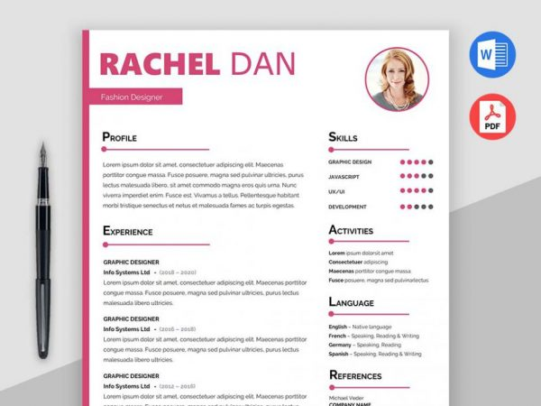 Free Feminine Resume Template with Clear and Elegant Design