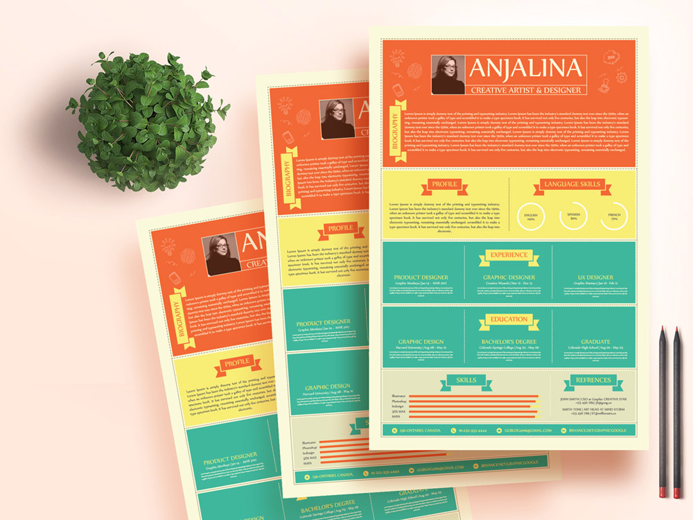 free fresh colorful resume template in illustrator file format