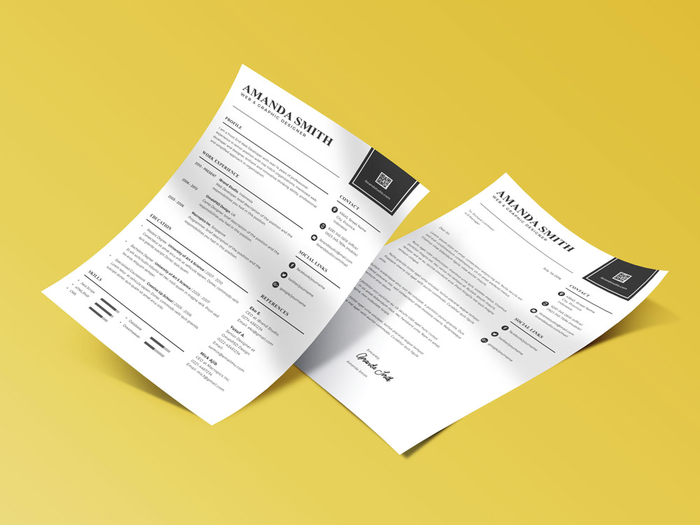 free minimalist resume template with matching cover letter - Free Minimalist Resume Template