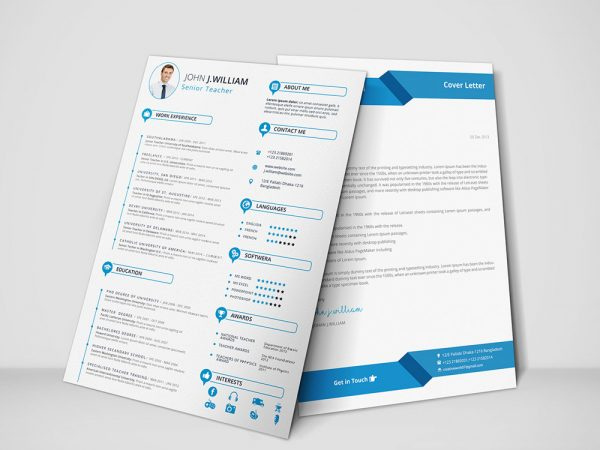 Free Teacher Resume Template with Cover Letter