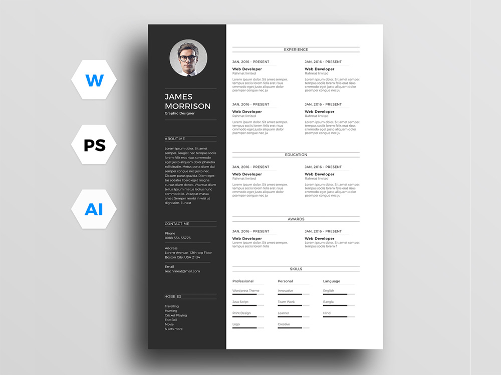 Morrison-Resume-Template Template Cover Letter Design Free Black Professional Resume Fondul on