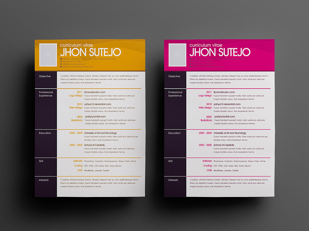 Free One Page Pattern Resume Template In Psd Format