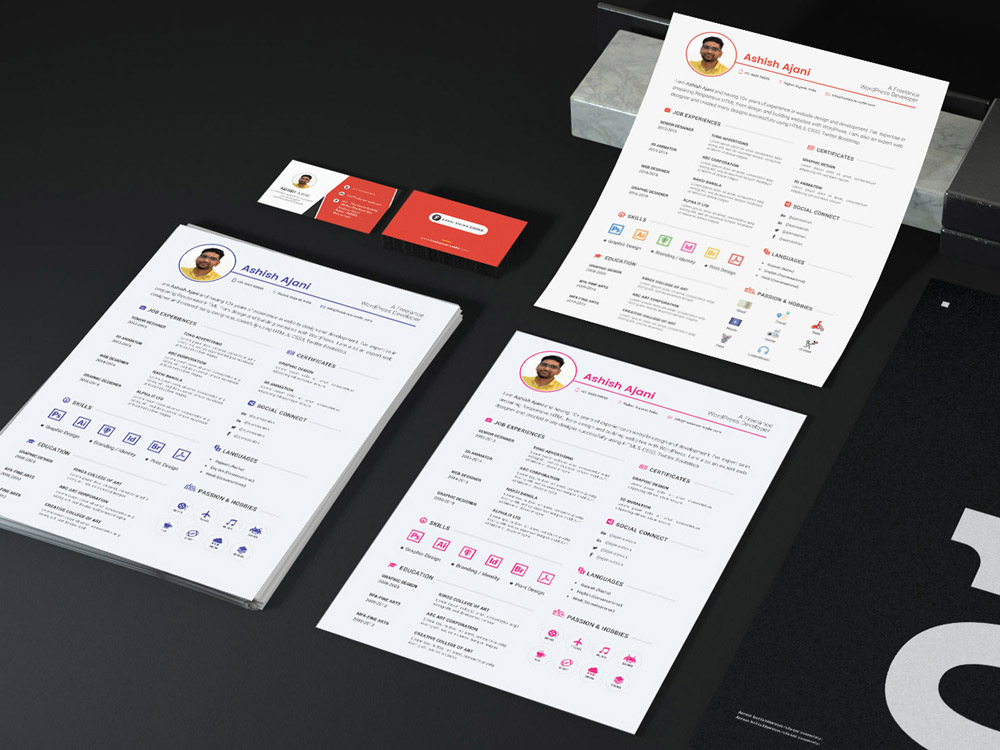 Free Resume Template with Portfolio Page, Cover Letter and Business Card