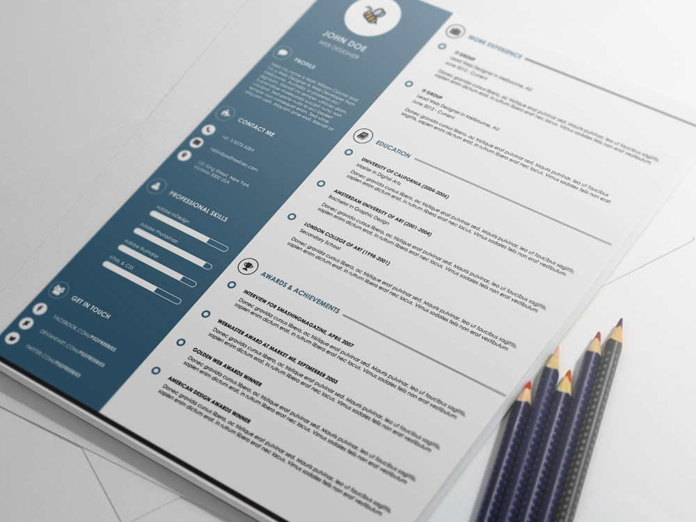 free amazing cv template in psd file format