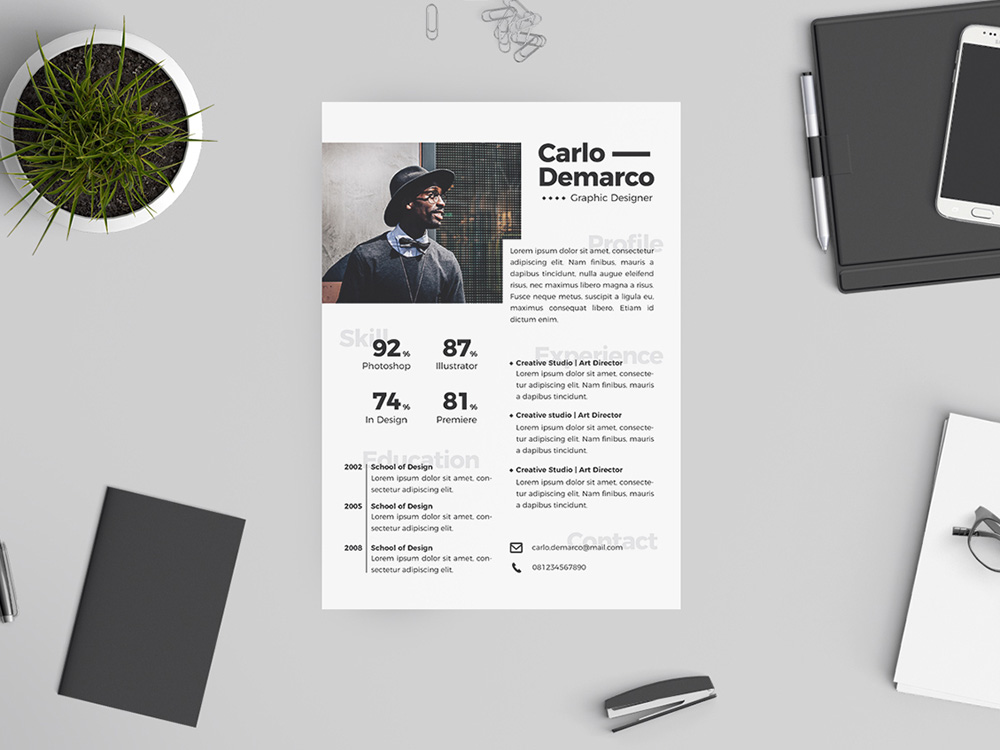 Free Hipster Resume Template with Attractive Design