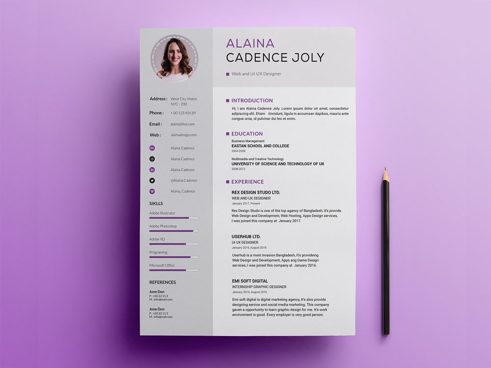 free professional resume template with clean design