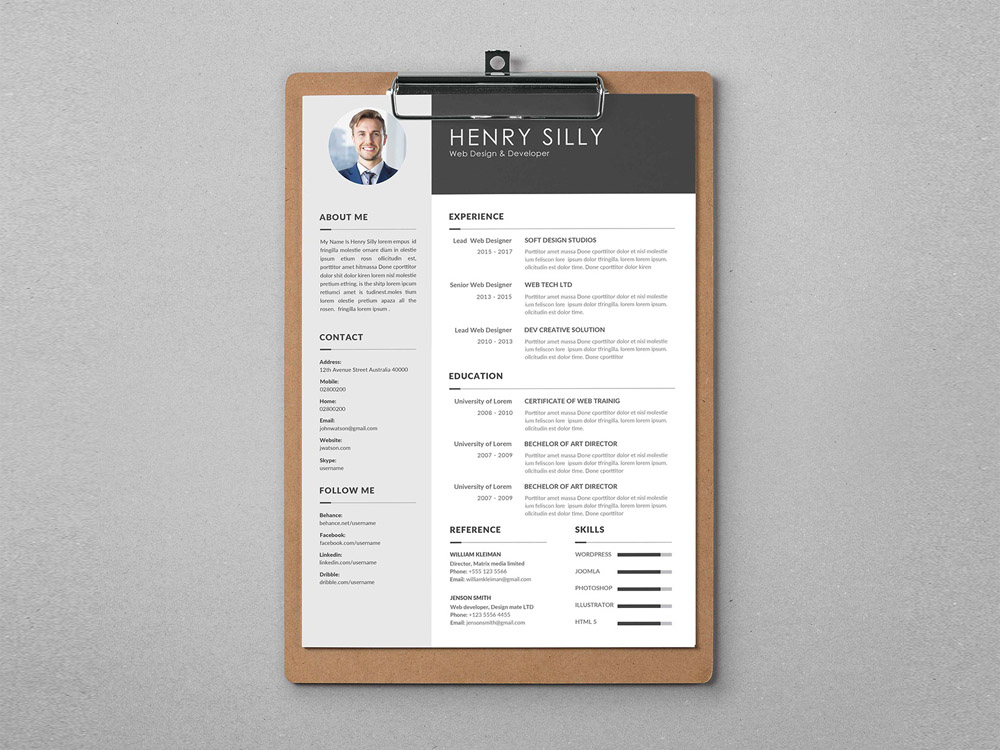 Silly Cv Free Illustrator Cv Template With Elegant Style Design