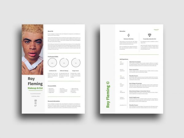 Free Makeup Artist Resume Template with Clean Design